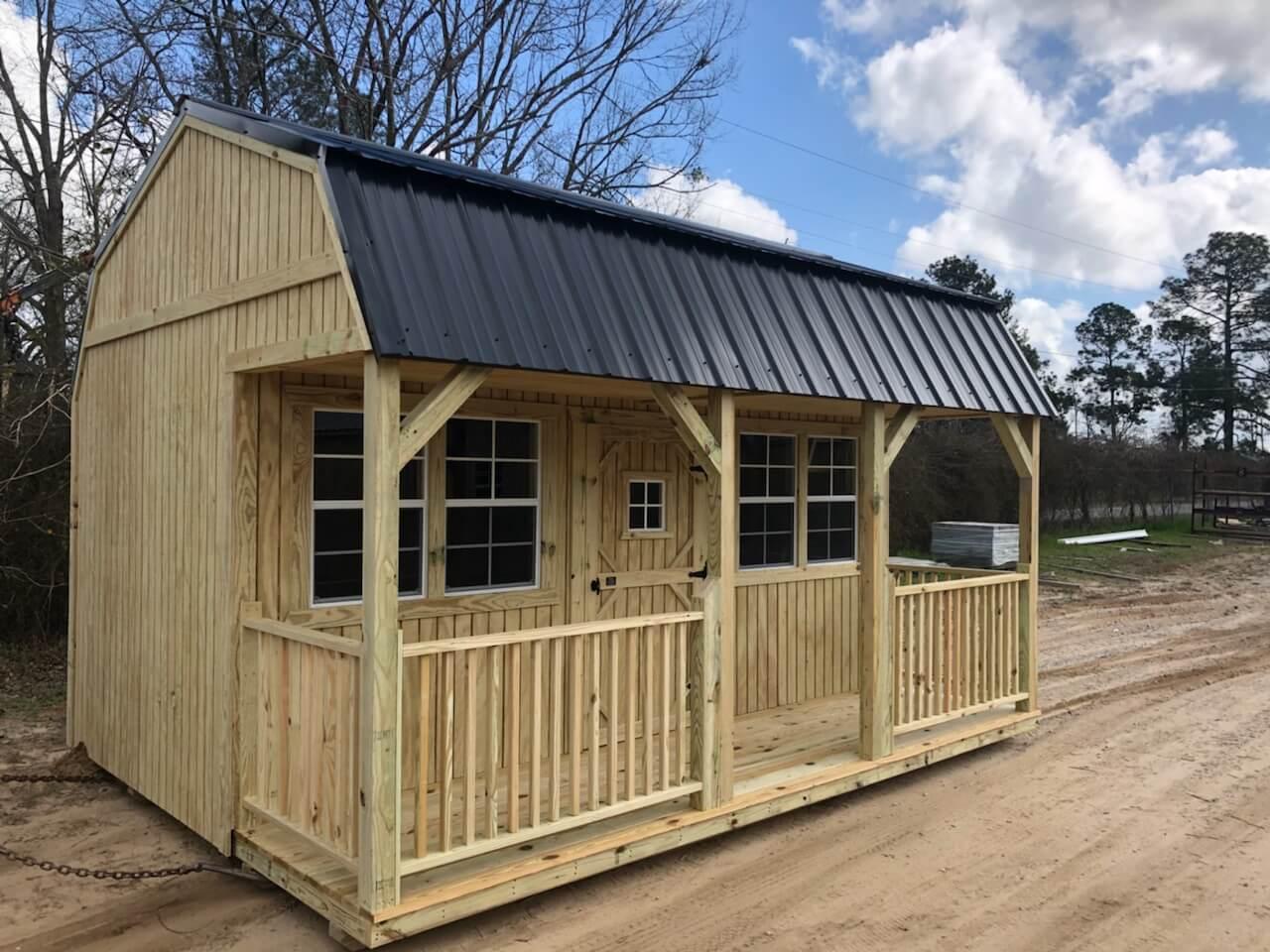 Porch Lofted Storage Barns