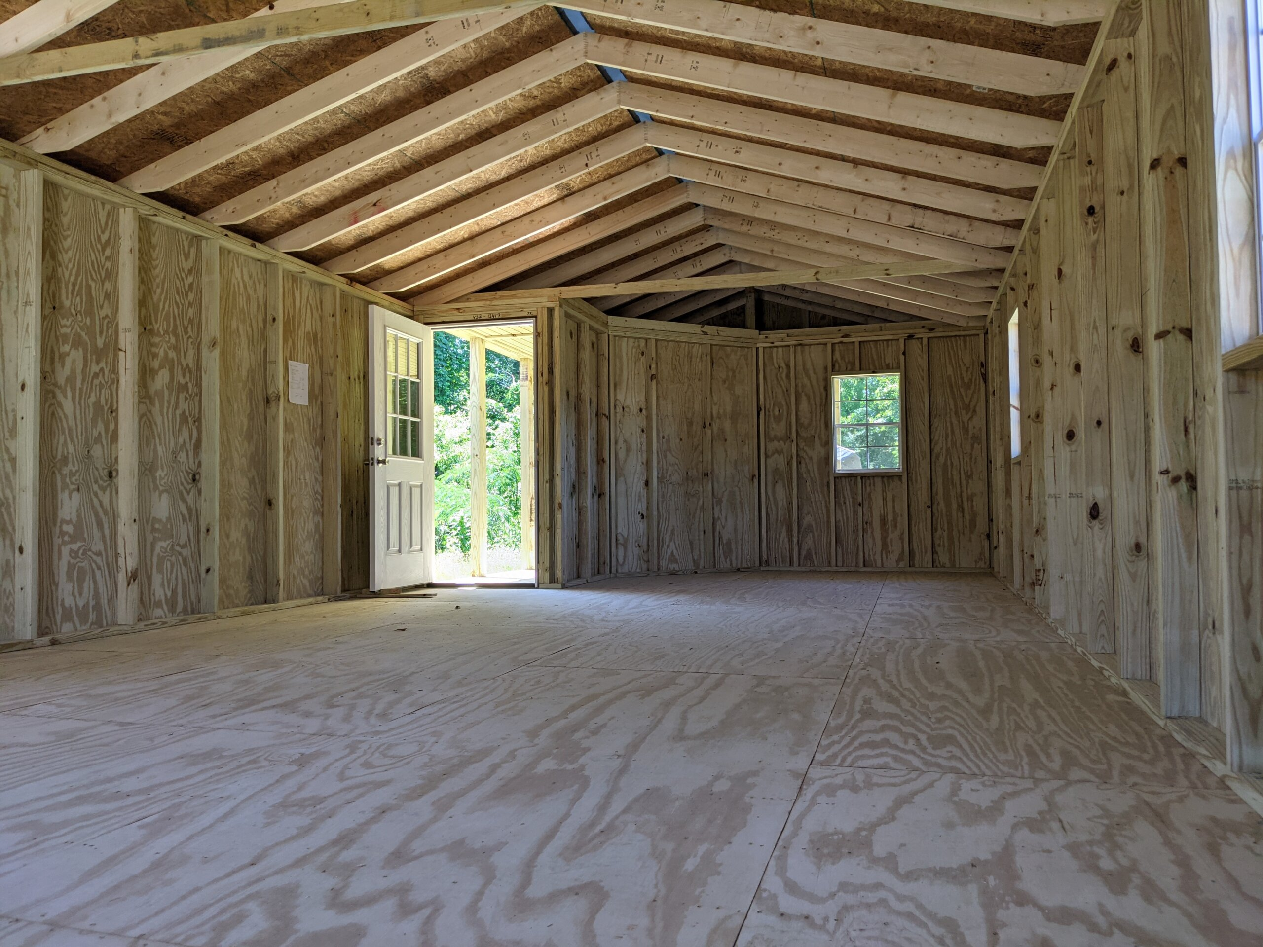 interior of porch utility storage building
